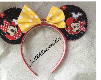 Black & White Polka Minnie Inspired Ears