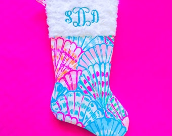 Personalized Lilly Pulitzer Inspired Christmas Stocking | Oh Shello
