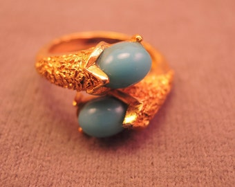 Signed Trifari Gold Tone and Faux Turquoise Ring c1970s