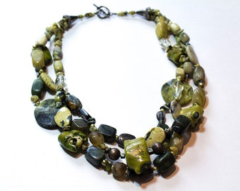 Multiple Strand Layered Green Coral, Jade, Serpentine, Tourmaline, Magnetite, Pearls Necklace OOAK