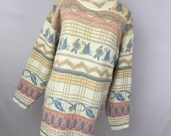 Vintage 80s 90s M Medium Oversized Long Sweater Cream Tan Pink Blue Keren Made In USA Floral Stripe H5