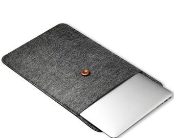 "Felt Laptop Sleeve Notebook Case 15"" Inch MacBooks Charcoal Dark Grey"