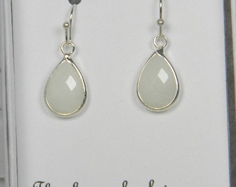 White / Silver Bridesmaids Teardrop Earrings, White Bridal Earrings, White Bridesmaid Tear drop Earrings, White Wedding Gift - TD