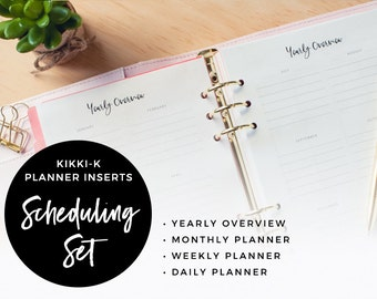 Scheduling Set : Planner Insert Pages / A5 Planner Inserts for Kikki K and Filofax / PDF Printables
