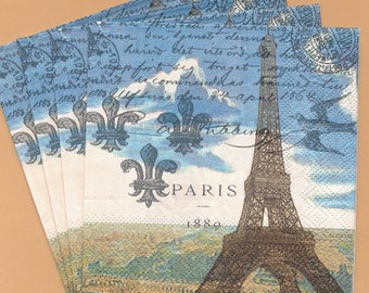 PN012 Paper Napkins by Michael Design ~ Choose Four 5x5 or Three 4.5x8 ~ Eiffel Tower French Script