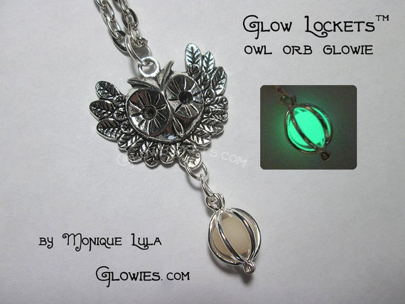 Owl Orb Glow Locket Pendant Bronze
