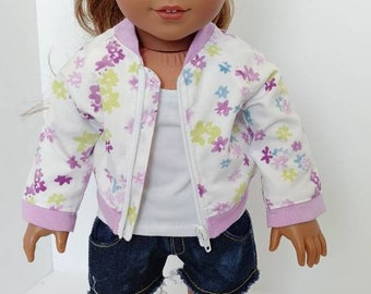 "Doll jacket. 18 inch doll clothes. Fits like American girl doll clothing. 18"" doll clothing. Doll aviator jacket"