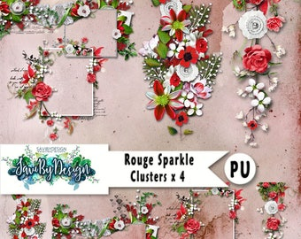Digital Scrapbooking Clusters set of 4 ROUGE SPARKLE premade embellishment png clusters to make immediate scrap page