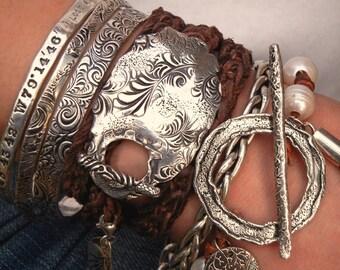 Hippie Jewelry, Stacked Leather Wrap Bracelet, Boho Jewelry, Sterling Silver Wrap Bracelet, Leather Triple Wrap Bracelet, Layered Jewelry