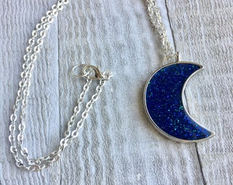 Royal Blue Crescent Necklace - Glitter Crescent Moon Necklace - Women's Necklace - Blue Glitter Moon Necklace