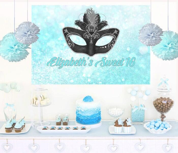Masquerade Mask Personalized Party Backdrop Aqua Birthday Cake