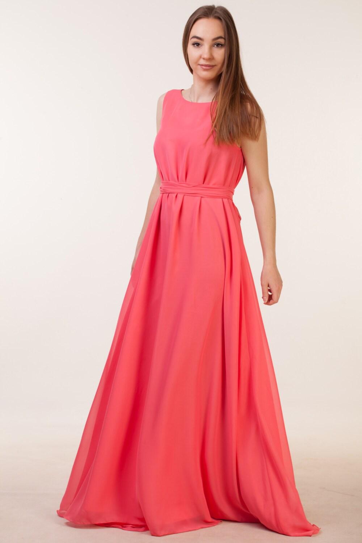 Long coral bridesmaid dress coral bohemian bridesmaid dress zoom ombrellifo Image collections