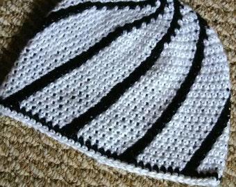 White with black swirl hat