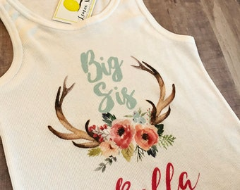 Big Sis shirt with name and antlers with flowers