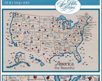 SUE HILLIS DESIGNS America The Beautiful cross stitch patterns map of the UsA United States travel Europe