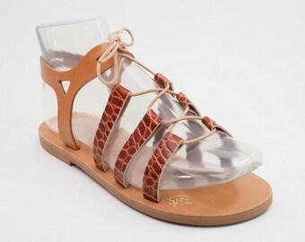 "Greek tie up / lace up gladiator sandals/Real leather sandals/Greek sandals/Flat sandals/ Unisex sandals/Multicolor - JUST ARRIVED! ""Sifnos"""