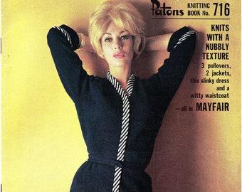 Patons 716 Vintage 60s MOD Knitting patterns booklet for women ORIGINALS not PDF