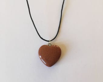 Handmade Goldstone Gemstone Heart Necklace Choker