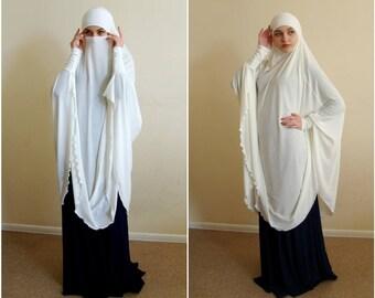 Transformator Milch Khimar Niqab Transformator Dayisy Niqab, Pulver Jersey Nikab, traditionelle Hijab, bereit zu tragen, lange Hijab, Burka, Hijab, abaya
