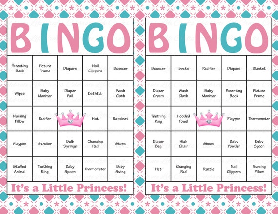 100 Baby Shower Bingo Cards Printable Baby Girl Instant