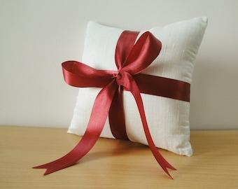 Silk Dupioni Ring Bearer Pillow with Maroon Satin Ribbon
