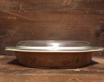 Vintage Pyrex Early American Divided dish with lid