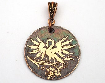 Phoenix pendant, round flat etched metal jewelry, mythical creature, rebirth, 28mm