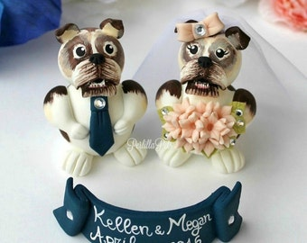 Dog wedding cake topper, custom bulldog cake topper, pet cake topper, with banner