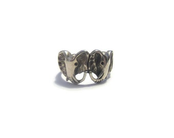 Vintage Sterling Silver Elephant Ring Size 8.5