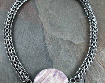 Chainmaille Necklace Stainless Steel Full Persian with Gemstone Pendant