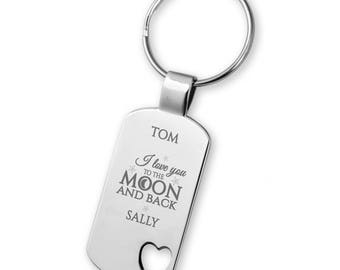 Engraved BOYFRIEND GIRLFRIEND keyring gift, Love you to the moon & back, heart cut out keyring - 5583LM5