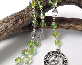 Green Celtic Triquetra Pagan Rosary // Prayer Beads // Danu // Brigid // Druid // Wiccan // Goddess