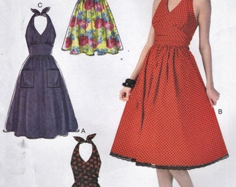McCall's 7157 Halter Dresses Tie Back or Zippered Back Sizes 14 16 18 20 22 English & Spanish Instructions