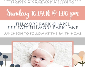 Baby Blessing Invitation Girl