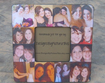 "Maid of Honor Collage Picture Frame, Unique Sister Gift, Custom Collage Mother of the Bride Frame, Personalized Bridal Shower Gift 8"" x 8"""