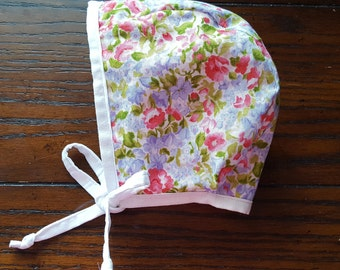 0-6M Floral/Pink Bonnet