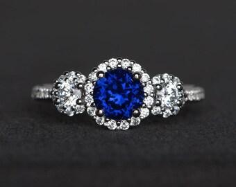 lab blue sapphire ring wedding ring round cut blue gemstone sterling silver ring September birthstone
