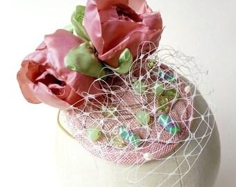 Pink sinamay fascinator with handmade fabric flowers, green beads & veiling ~ Percher ~ Wedding Bridesmaid ~ Burlesque CanCan ~ Festival