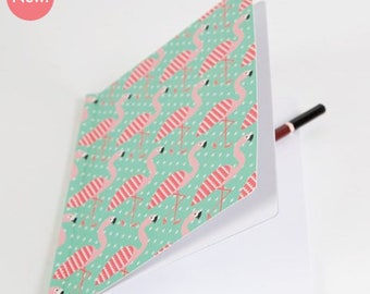 Pretty notebook with flamingos, A5 size - notebook