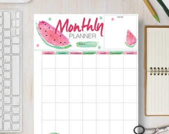 MONTHLY Printable Planner Half Sheet, Letter, A4 & A5 Page. Watermelon Monthly Planner Insert and Planner Refills.  Enjoy Planning! | #586
