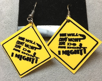 Vintage Early 90's Some Will / I might Caution Earrings