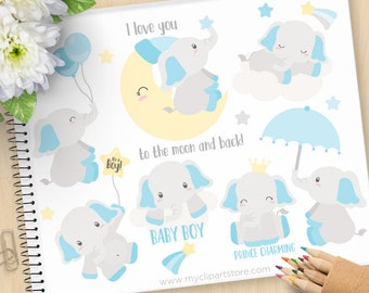 Baby Boy Elephant Clipart, Blue elephants, Moon, prince, umbrella, balloons, gender reveal, Commercial Use, Vector clip art, SVG Cut Files