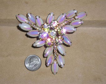 Vintage Iridescent Rhinestone Brooch With Opalescent White Glass Stones Glitzy Late 1950's Pin Jewelry 1007