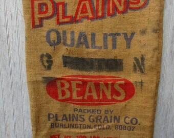 Vintage burlap bag gunny sack tow sack grain sack feed sack Plains Quality Beans 100 pounds advertising Farmhouse N2