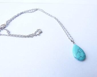 Teardrop turquoise howlite plan silver fairy pendant necklace Celtic wicca semi precious stone