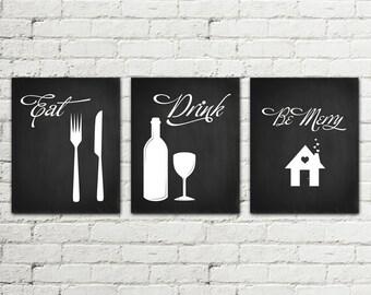 Set of 3 PRINTS Kitchen Printable Poster Illustration Graphic Design Print, Eat Drink be Merry Home Decor wall art fork knife glass Download