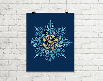 Snowflake Printable, Holiday Print Blue Gold Glitter Winter Wall Art, Christmas Decor Instant Digital Download 8x10