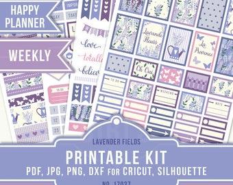 Happy Planner Stickers, Lavender Weekly Sticker Kit, Flower Planner Stickers, Lavender Planner, MAMBI Planner Stickers, 17037