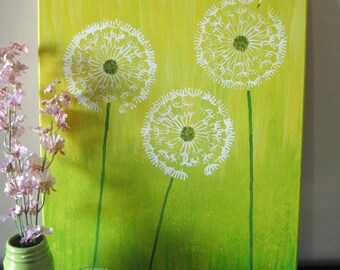 Just Dandy! | yellow, green and white acrylic painting | Dandelions | Dandelion |  Kids Room Art | Baby Room Art | Wall Art | Nursery Art