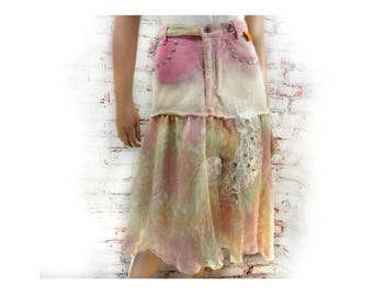 altered jean skirt - pink skirt - Eco-friendly skirt - Mori girl skirt - Upcycled pink skirt , tattered skirt -  Size 7  #  5